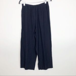 Eileen Fisher Navy Linen Cropped Lounge Pants